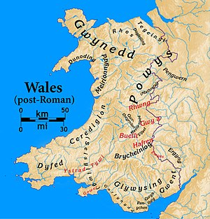 Rhos (North Wales) - Post-Roman Welsh kingdoms. Rhos is in the center north, near the coast. The modern Anglo-Welsh border is also shown.