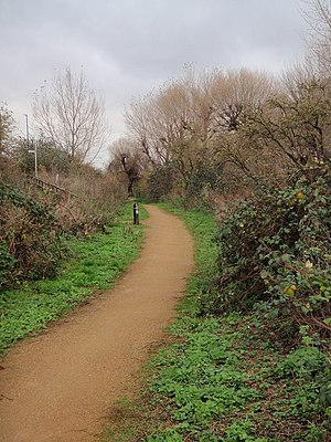 Wandle Trail -  Wandle Trail as it approaches a turning leading to Weir Road, Wimbledon Park