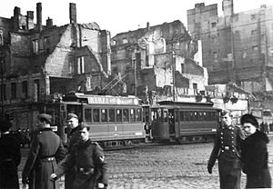 Marszałkowska Street, Warsaw - Image: Warsaw during WWII Rondo Dmowskiego