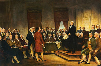 Constitution - A painting depicting George Washington at the Constitutional Convention of 1787 signing of the U.S. Constitution