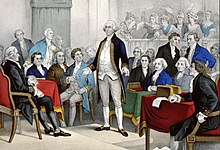 George Washington standing to receive his appointment as Continental Army commander-in-chief. John Adams nominated him, seated second to the right of Washington in a blue coat, at the First Continental Congress