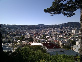 Mount Victoria, Wellington - Mount Victoria roofs, Armour Avenue just left of centre. Te Aro in the background