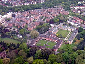 Wessex Lane Halls - Connaught Hall bottom right, Montefiore House top left.