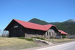 West Glacier's former Great Northern Railway station, now used by Amtrak