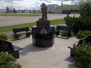 "Mayerthorpe tragedy - ""We Remember"" bronze statue outside the Whitecourt RCMP detachment honouring the Fallen Four"