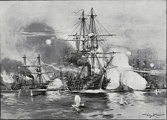 Battle of Jasmund (1864) - Painting of the battle, depicting the Prussian squadron, by Willy Stöwer