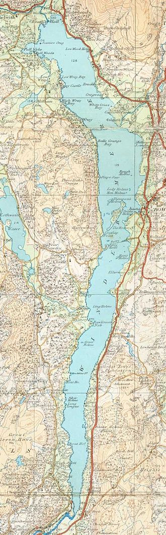 Windermere - A map of the lake from 1925