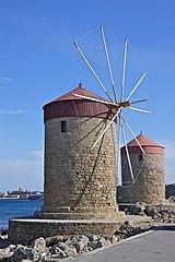 Windmills Rhodes harbour.jpg