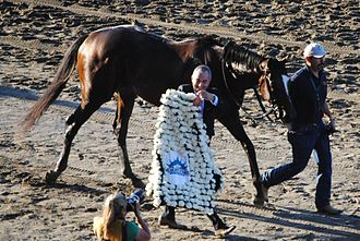 Belmont Stakes - The winner's blanket, made of white carnations