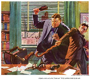 A watercolor illustration depicts two men standing behind a desk. Their eyes are intent upon the center drawer. The desk chair is overturned. The larger of the two men holds a brown bottle aloft in his right hand, preparing to strike downward. A younger, slender man leans backward warily, and extends a curved walking stick toward the desk drawer.