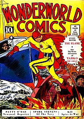 A color comic book cover, titled Wonderwworld Comics.  A yellow-clad superhero with red mask and cape is posed on a boat, firing a flame gun toward panicking figures.