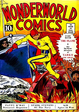 Superheroes have been a staple of American comic books (Wonderworld Comics #3, 1939; cover: The Flame by Will Eisner). WonderworldComics3.jpg