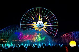 World of Color - The World of Color logo projected via laser onto a mist screen