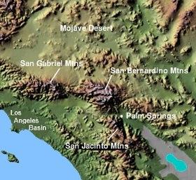 San Bernardino Mountains Wikipedia - Map of united states with mountains