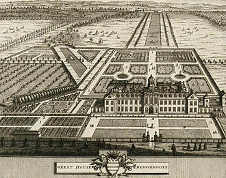 Wrest Park - Wrest House c.1708. This building was replaced in the 1830s, but the formal parterre elements of the garden remain from this time.