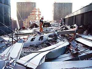 United Airlines Flight 175 - Piece of fuselage on the roof of 5 WTC.