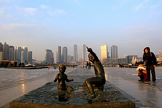 Xinghai Square is the largest city square in the world Xinghai square middle.JPG