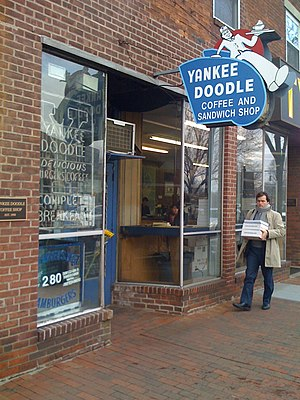 Yankee Doodle Coffee Shop - A New Haven landmark brass plaque adorns the Yankee Doodle storefront on Broadway Avenue