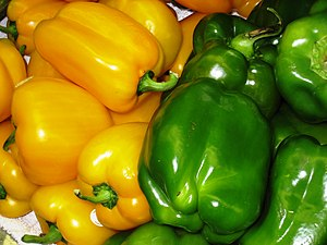 Yellow and green Bell peppers, North End marke...