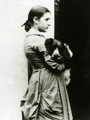 Beatrix Potter - Potter at fifteen years with her springer spaniel, Spot