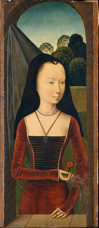 Hennin - Hans Memling, Young woman in a conical hennin with black velvet lappets or brim and a sheer veil, from the Allegory of True Love, 1485–90.