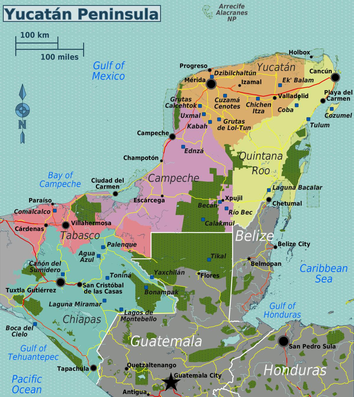 File Yucatan Peninsula Map Png Travel Guide At Wikivoyage