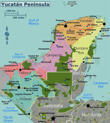 Carte Yucatan Quintana Roo.Peninsule Du Yucatan Wikivoyage Le Guide De Voyage Et De