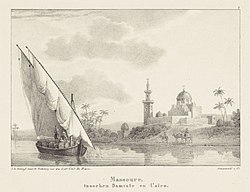 Zeilboot voor Mansoura Massoure. Tussen Damiate en Caïro (titel op object) Egyptische-Gezigten tweede zestal (serietitel) Egyptische-Gezigten (serietitel), RP-P-1904-3128.jpg
