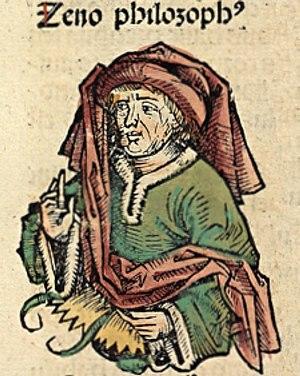 Zeno of Citium - Zeno, portrayed as a medieval scholar in the Nuremberg Chronicle