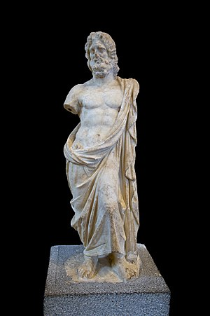 English: A statue of Zeus, found at Kameiros, ...