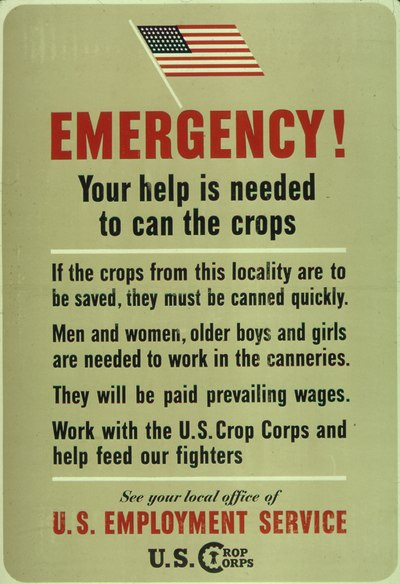 "A ""help wanted"" sign seeks available workers for jobs. ""Emergency - Your help is Needed to Can the Crops"" - NARA - 513835.tif"