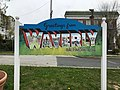"""Greetings from Waverly"" sign (Greg Gannon, artist), Frisby Street and E. 33rd Street (southeast corner), Baltimore, MD 21218 (39971821830).jpg"