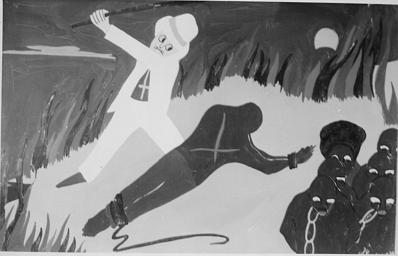 "Jacob Lawrence's ""The Cruelty of the Planters Towards the Slaves Drove the Slaves to Revolt,1776;"" part of the Toussaint L'Overture series, 1937-8."