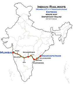 (Visakhapatnam - Mumbai LTT) (via Secunderabad) Express Route map.jpg