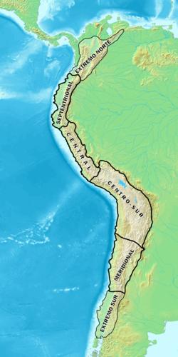 Extensão da Cordilheira dos Andes na América do Sul.