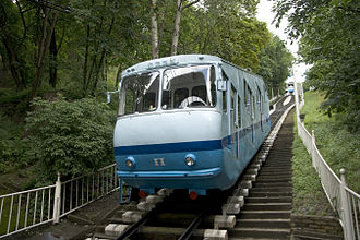 """Podil - The """"right"""" carriage of the Kiev Funicular."""