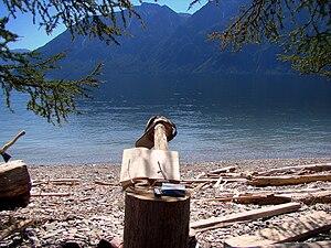 Lake Teletskoye - Image: Пенёк с книгой и озеро