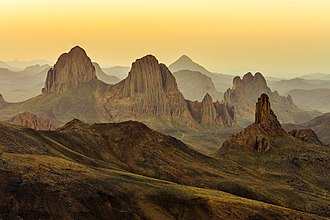 Hoggar Mountains - Landscape of the Assekrem region in the Hoggar in Tamanrasset Province