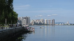 View of Dandong's skyline on the Yalu River