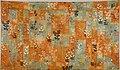 茶浅葱段秋草蝶模様唐織袈裟-Buddhist Vestment (Kesa) Made from a Noh Costume (Karaori) with Autumn Grasses and Butterflies MET DT4769.jpg