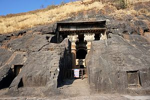 Bedse Caves - Image: 004 Entrance to the Chaitya Hall (33563202691)