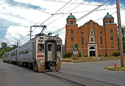 A South Shore commuter train in Michigan City. 07 21 09 006xRP - Flickr - drewj1946.jpg