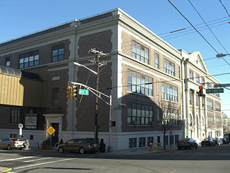 Emerson High School (Union City, New Jersey) - Main building, with the eastern terminus of the bridge connecting it to the gym building visible at left