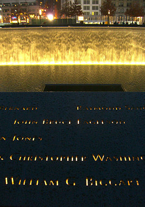 Bill Biggart - Biggart's name is located on Panel S-66 of the National September 11 Memorial's South Pool, along with those of passengers of Flight 77.
