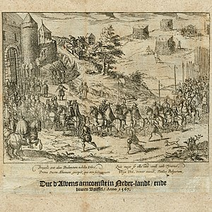 Fernando Álvarez de Toledo, 3rd Duke of Alba - The arrival of the Duke of Alba in Brussels, 1567. Print from 'The Wars of Nassau' by Willem Baudartius, Amsterdam 1616