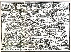 "Kholmogory, Arkhangelsk Oblast - ""Colmogor"", near ""Mare Glaciale"", shown on Giacomo Gastaldi's 1550 map of Moscovia"