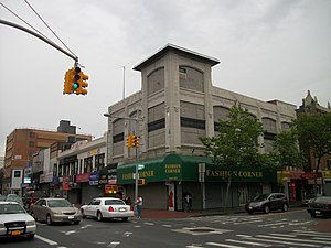 168th Street (BMT Jamaica Line) - Site of former 168th Street Station building at Jamaica Avenue and 165th Street. Presently a women's clothing and fashion retail store occupies the site.
