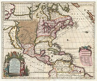 Louis Hennepin - 1698 – Antoine Hennepin's colorized map of North America.