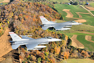 176th Fighter Squadron - A two ship of F-16C Fighting Falcons (87-0258, 87-260) from the 176th Fighter Squadron, 115th Fighter Wing, Wisconsin Air National Guard on a routine training mission in the skies over Wisconsin 21 October 2008.