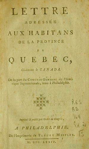 Letters to the inhabitants of Canada - The cover sheet to the French translation of the letter drafted by the First Continental Congress in 1774